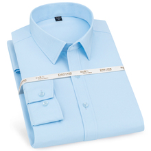 Male Shirts Pocket Work-Tops Stretch Mens Dress Long-Sleeved Formal Casual Solid Spandex