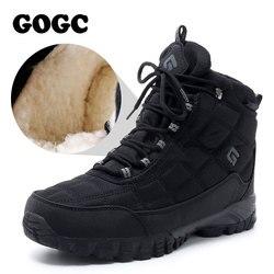 Gogc homens sapatos de inverno quente sapatos de inverno para homens náilon botas de inverno homens com pele quente botas de neve sapatos casuais masculinos g9909