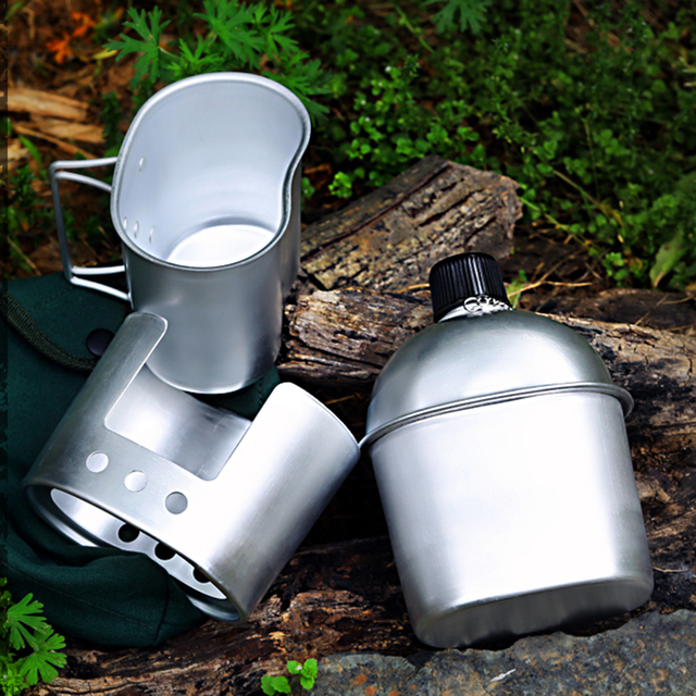 3pcs Cookware Set Ultra-light Aluminum Alloy Military Canteen Cup Wood Stove Cover Bag Camping Hiking Backpacking Utensils