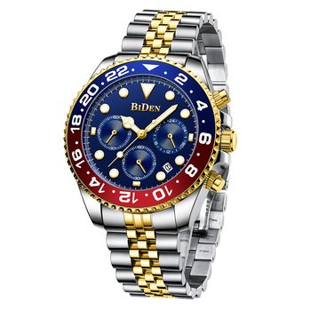 Luxury Top Brand Gold Men Watch 304 Stainless Steel Chronograph Watches Mens 2020 Waterproof Male Business Dress BIDEN - discount item  58% OFF Men's Watches