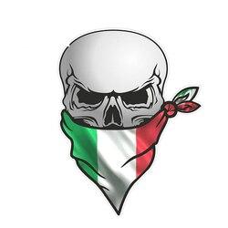 Crânio do pirata gótico em uma bicicleta com turbante, teste padrão italiano da bandeira do il tricolore, adesivo externo do pvc ZWW-2172, 13 cm * 8cm