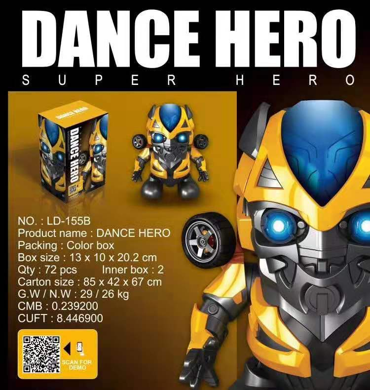 LED Dance Hero Transformersed Bumblebees Music Bee  Flashlight Light Sound Music Smart Robot Model Toy Gift