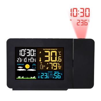 FanJu Alarm zegar projekcyjny termometr higrometr bezprzewodowa stacja pogodowa cyfrowy zegarek drzemka biurko stół projekt zegar radiowy tanie i dobre opinie Z tworzywa sztucznego Luminova Kalendarze FJ3391 Fala ruch Projekcja 38mm DIGITAL 6 cal Europa Plac Zegary biurkowe 100mm