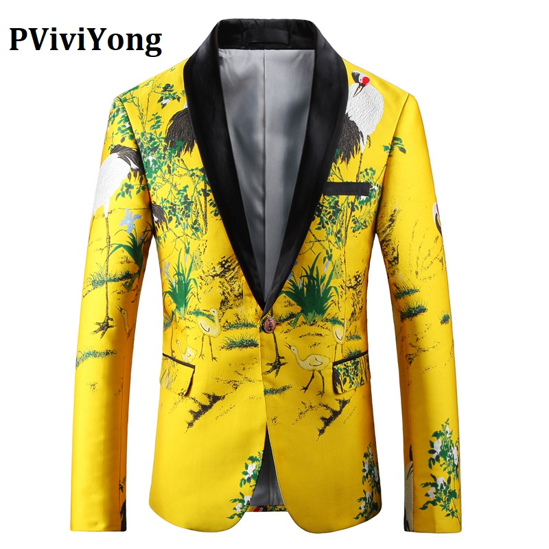 PViviYong Brand 2019 High Quality Suit Top For Men,men Blazer China Style Embroidery Suit Men Slim Fit Suit Jacket Men Coat 7755