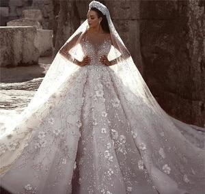 Image 5 - Prinses Luxe Trouwjurk Afrikaanse Arabische Dubai Lange Mouwen Kralen Kerk Formele Bruid Bruidsjurk Plus Size Custom Made