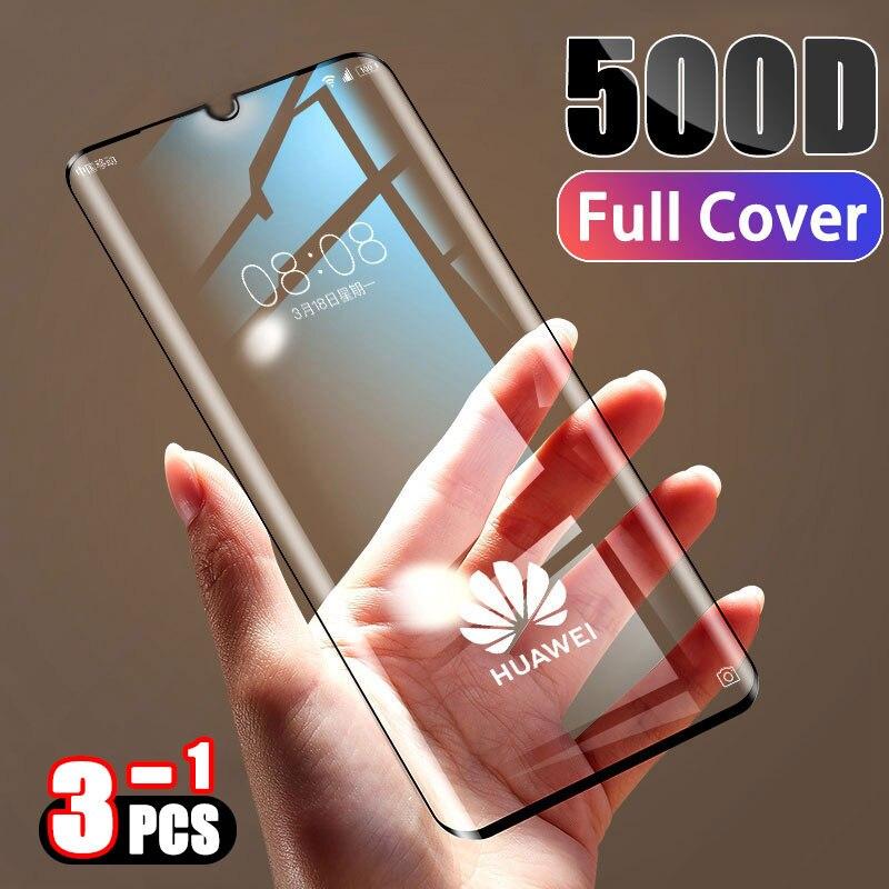 500D Gehard Volledige Cover Beschermende Glas Op Voor Huawei P30 P20 Lite Pro Screen Protector Film Voor Mate 20 10 9 Lite Pro Glas