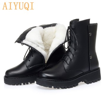 Women's Ankle Boots Winter Shoes 2020 New Genuine Leather Martin Boots Women's Round Toe Warm Wool Large Size Ladies Snow Boots women s boots genuine leather shoes new martin boots round toe buckle fashion boots motorcycle winter platform warm shoes boots