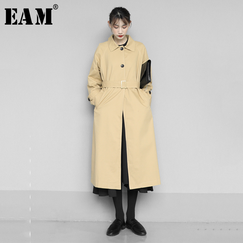 [EAM] Women Khaki Brief Button Split Long Thin Trench New Lapel Long Sleeve Loose Fit Windbreaker Fashion Tide Spring 2020 1N552