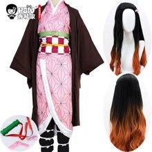 HSIU Kamado Nezuko Аниме Косплей Костюм парик демон убийца Kimetsu no Yaiba кимоно униформа плащ ПОЛНЫЙ КОМПЛЕКТ Хэллоуин градиент волос