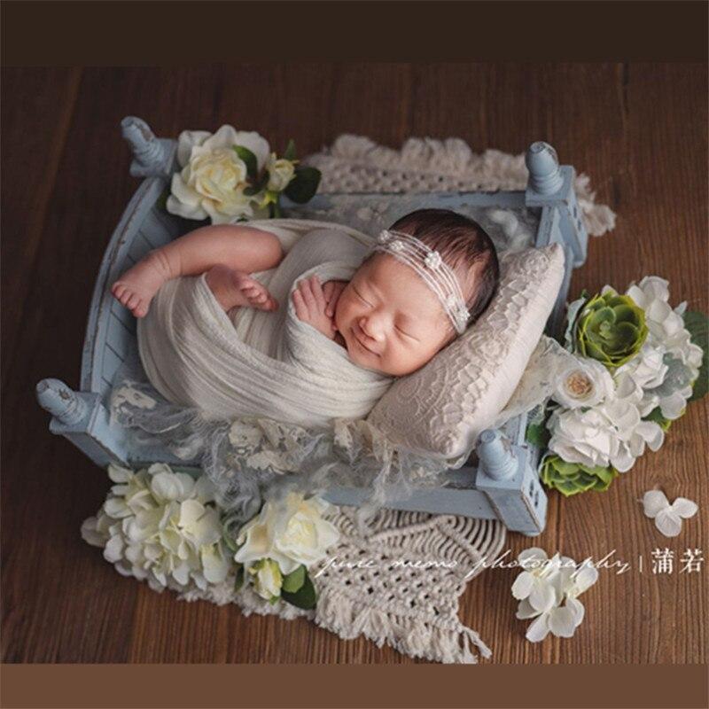Fotografia recém-nascido adereços mori retro antigo berço de madeira accessoire bebe tiro foto pequena cama de madeira para estúdio bebe photographie
