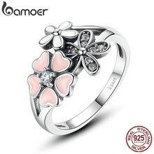 Bamoer 925 sterling argent rose fleur poétique marguerite cerise blossom bague pour les bijoux des femmes engagement mode scr004