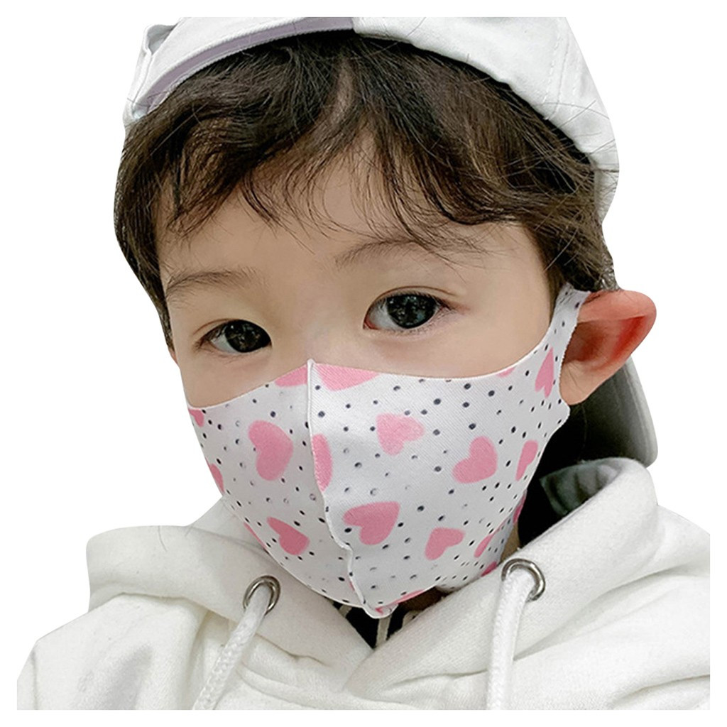Boys Girls Windproof Dust-Proof Face Mask Unisex Protection Fabric Dust Mouth Mask Children Pupil Mask Cartoon Printing #A