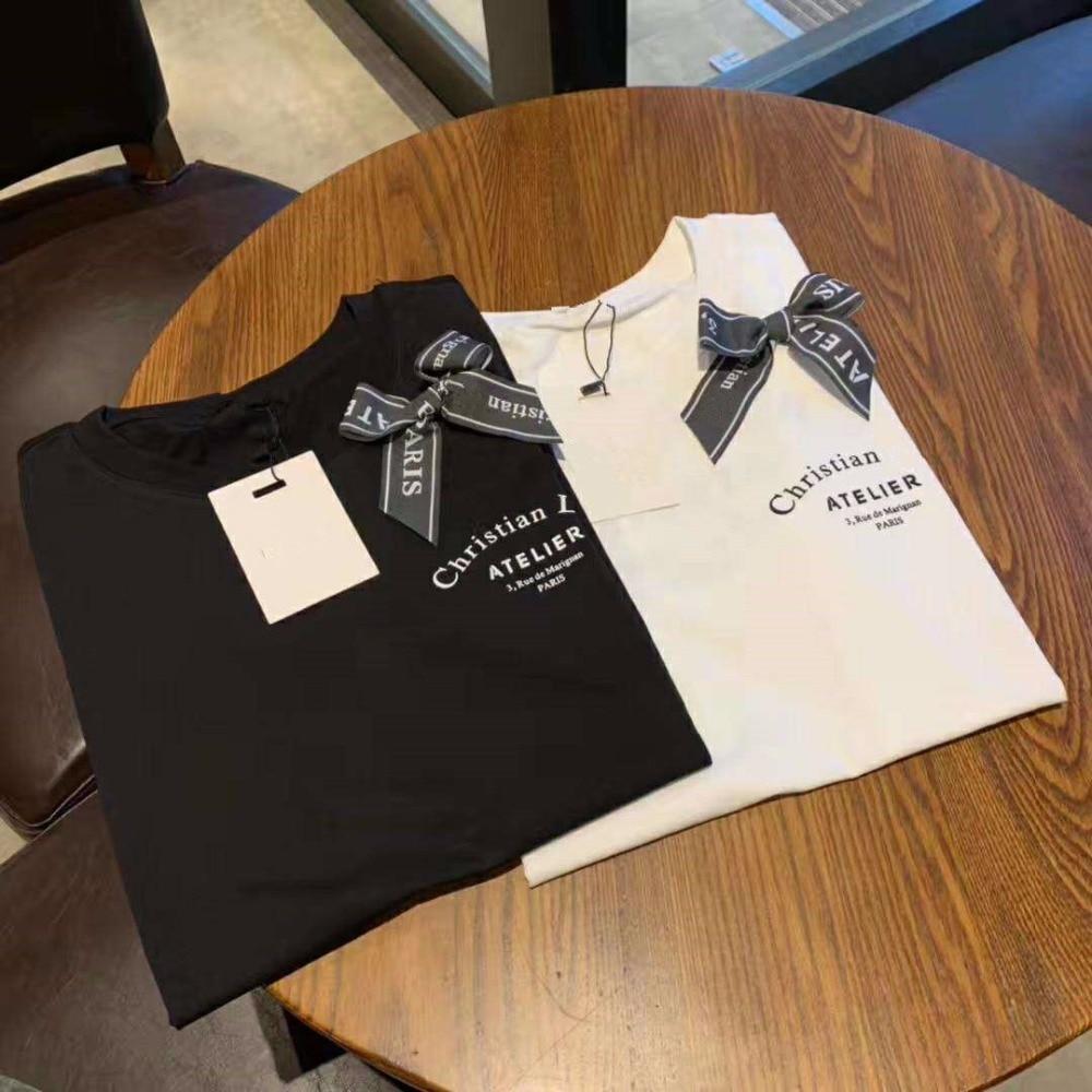 high quality Have logo 2019 Summer T shirt woman Casual cotton tshirt letter Bow print Fashion classic Tops women's tshirt