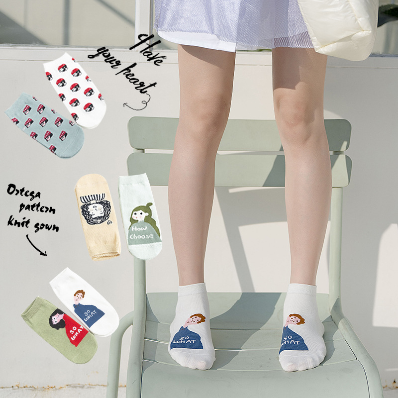 Women Socks 2020 Spring New Breathable Cute Cartoon Fashion Cotton Ankle Cartoon Girl Socks Funny Style Cute Socks Women