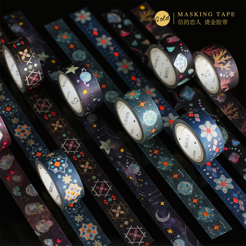 Starry Sky Undersea Series Gilding Washi Tape Adhesive Tape Diy Scrapbooking Sticker Label Masking Tape School Office Supply