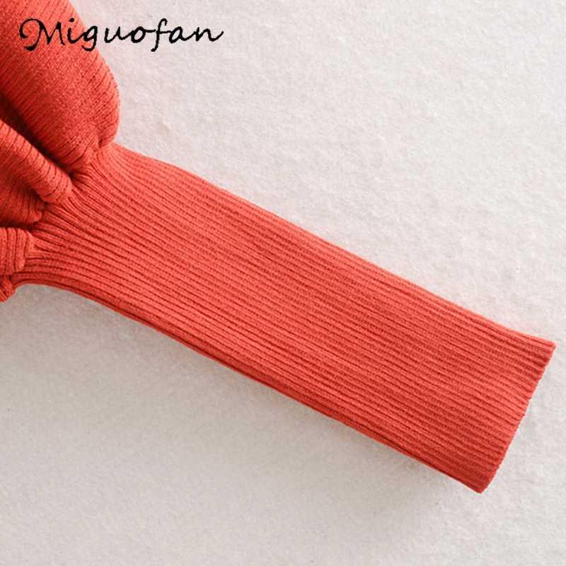 Miguofan Wanita Solid Tops Sweater Wanita Sweater Turtleneck Jumper Rajutan Tipis Sweater Lentera Lengan Elastis Slim Pullovers