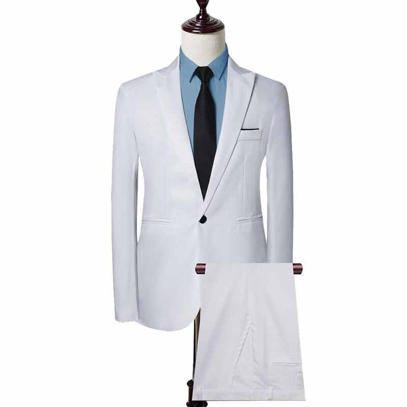 Litthing 2019 nuevo traje de graduación de boda para hombre verde ajustado esmoquin Formal de trabajo de negocios conjunto de 2 piezas (chaqueta + Pantalones)