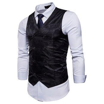 Classic Casual Vest Men Business Party Wedding Floral Vintage Waistcoat Pocket Vests Spring Autumn Plus Size XXL