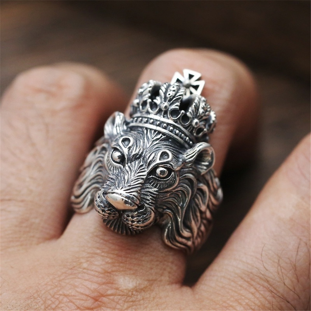 Ring For Men Girls Women Adjustable Gold Silver Black Snake Ferocious Animal Retro Punk Exaggerated Sphinx Egyptian Pharaoh 2
