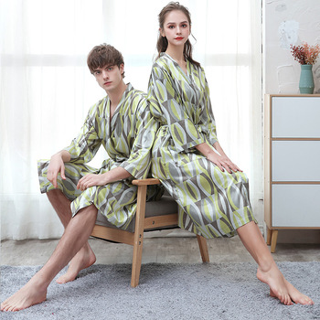 Couples Bathrobe Printed-Design Pajamas