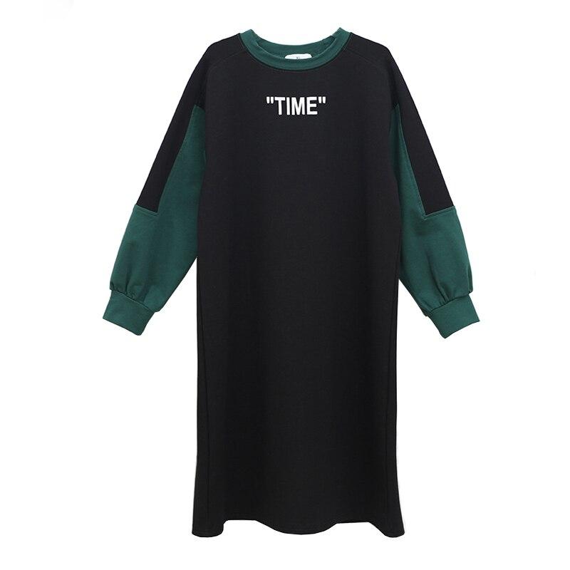 Повседневное Хлопковое платье черного и зеленого цвета для девочек подростков 4 16 лет свободные платья с длинными рукавами для больших дете