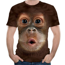 Men T Shirts 3D Printed Animal Monkey t shirt Short SleeveO-Neck short Funny Design Casual Tops Tees Male Halloween 5XL
