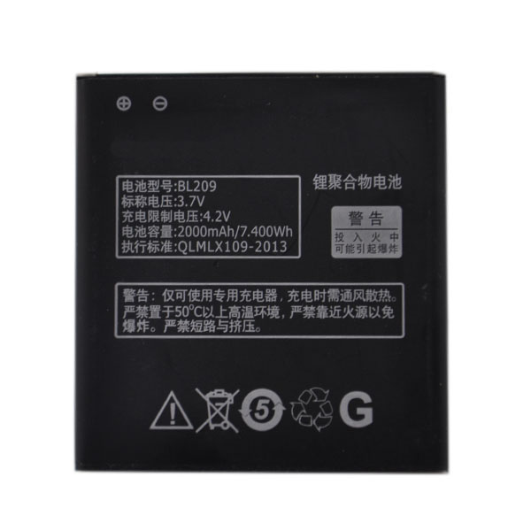 OHD Original High Quality BL209 <font><b>BL</b></font> <font><b>209</b></font> Battery For Lenovo A516 A706 A760 A820E A378T A398T A788T Replacement Batteries 2000mAh image