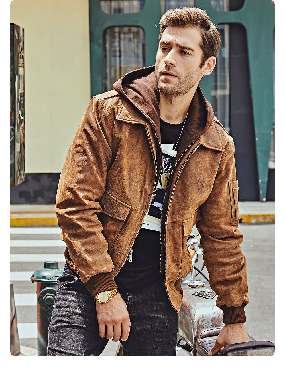 H9e34d95b82444006a5d6410e23135123b FLAVOR New Men's Genuine Leather Bomber Jackets Removable Hood Men Air Forca Aviator winter coat Men Warm Real Leather Jacket