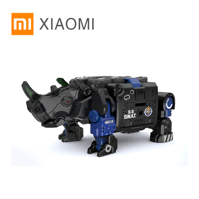 XIAOMI MIJIA 52TOYS Beast Series Plan  Blue armor special police model Toy action figure Deform Robot 5cm Cube Childrens Gift