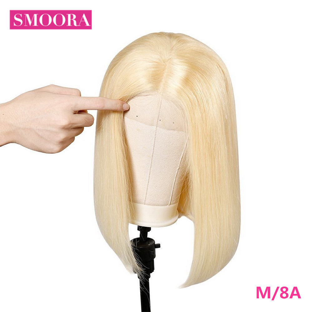 613 Blonde Bob Wigs Transparent 13x4 Lace Front Short  Bob Wigs  Straight  Hair 150% Density 16 inch 1
