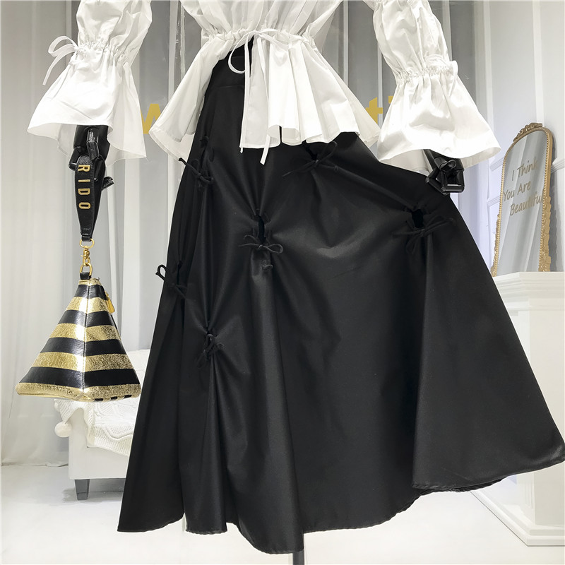Skirt Woman 2020 Spring New Bow High-Waist A- Line Skirt Women's Long Skirts Black Ropa Mujer Nancylim