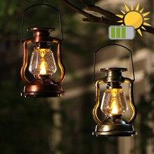 Rétro Cheval Lanterne Rechargeable Batterie Solaire Camping Lumière Extérieure LED Bougie Flamme Éclairage Chaleureux Tente Décoration De Jardin