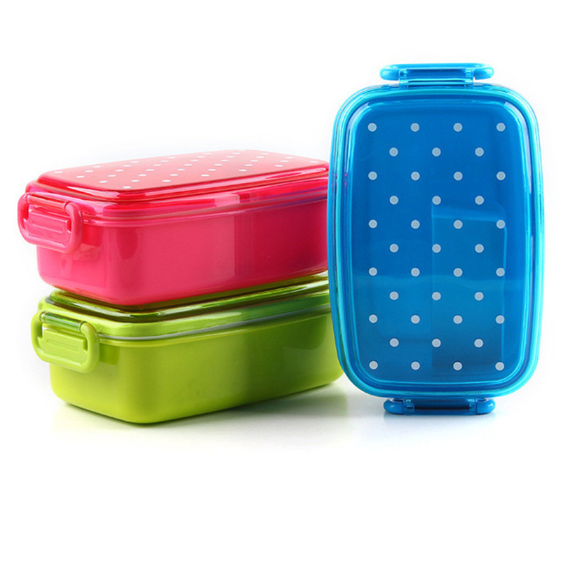 Dot Lunch Box For Children Picnic School Food Storage Container Bento Sushi Box Kids Fruit Snack Microwave Lunch Boxes X