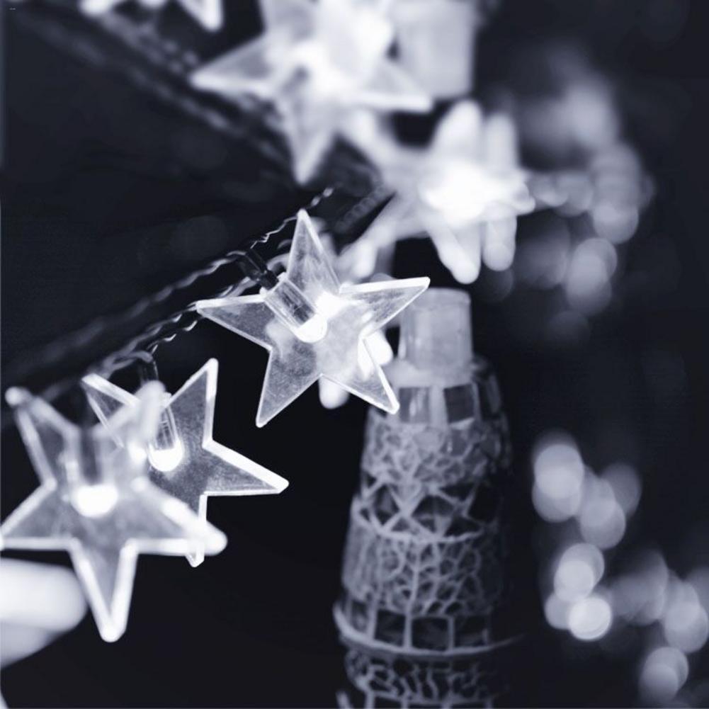 6M Solar String Light Plug Light String Five-pointed Star Pentagram Shape 30 LED Lights Party Wedding Christmas Decoration
