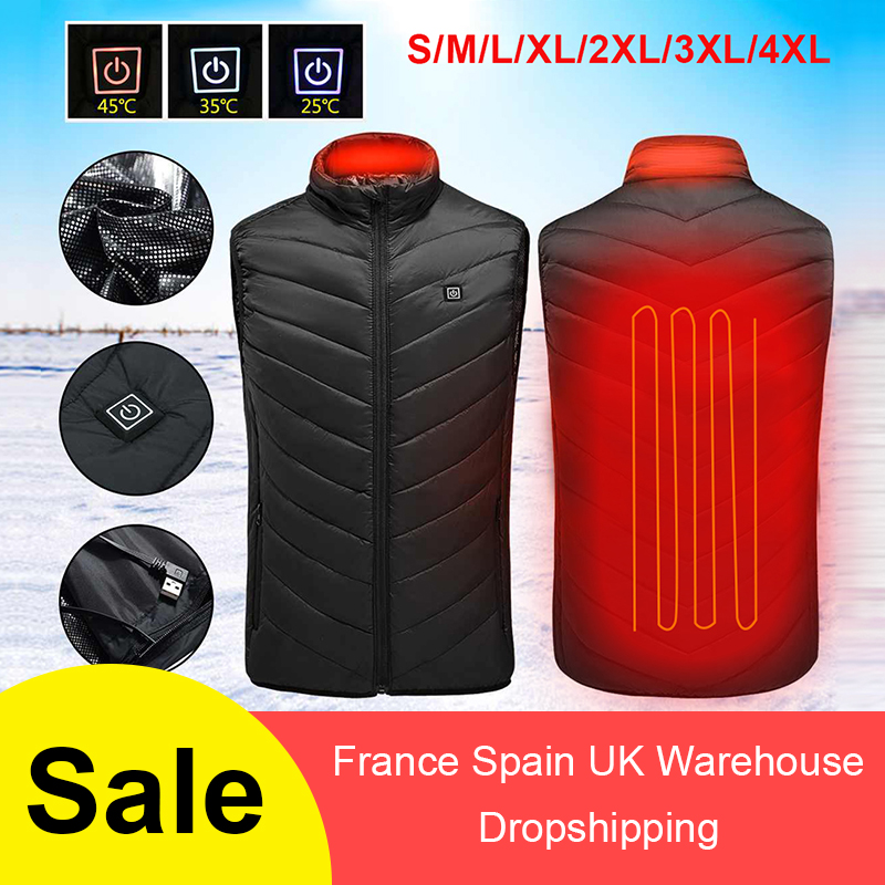 Winter Outdoor Men Electric Heated Vest USB Heating Vest Winter Thermal Cloth Feather Camping Hiking Warm Hunting Jacket VIP