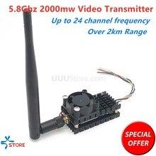 Über 2Km Reichweite 5,8 Ghz 2W FPV Drahtlose Sender TS582000 5,8G 2000MW 8CH Video AV Audio sender