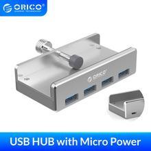 ORICO USB 허브 외부 4 포트 USB 분배기 (노트북 컴퓨터 용 마이크로 USB 전원 포트 포함) 알루미늄 합금 USB3.0 허브 (케이블 포함)