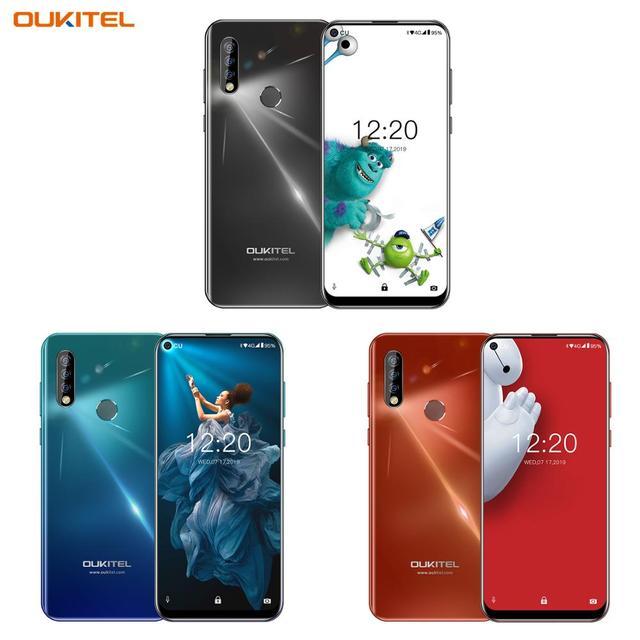 OUKITEL C17 Pro 듀얼 4G 안드로이드 9.0 스마트 폰 지문 페이스 ID 핸드폰 6.35 4gb 64GB 19:9 휴대 전화 Octa 코어 3900mAh