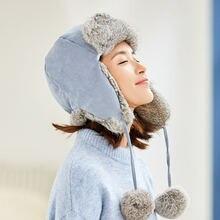 Осенне зимняя женская шапка бомбер из кроличьего меха универсальная