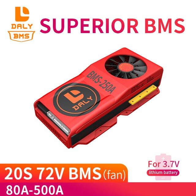 דיילי 18650 20S 72V ליתיום BMS 80A 100A 150A 500A גדול הנוכחי עבור 18650 ליתיום יון סוללות עבור ליתיום סוללה עם מאוורר
