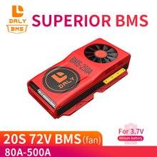 Daly 18650 20s 72v li ion bms 80a 100a 150a 500a grande corrente para 18650 bateria de íon de lítio para bateria de lítio com ventilador