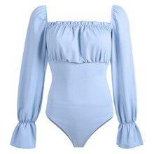 2019 Long Flare Sleeve Open Crotch Bodysuit Square Collar Sexy Open Back Bubble Sleeves Jumpsuit Female Casual Shirt Women mock neck tie open back flare leg jumpsuit