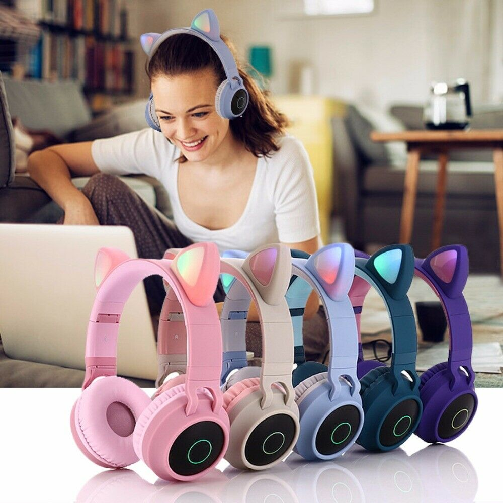 Wireless Headphones Bluetooth 5 0 Stereo Cat Ear Headphones Kids Adult Gaming Flashing Glowing With Microphone Christmas Gifts Bluetooth Earphones Headphones Aliexpress