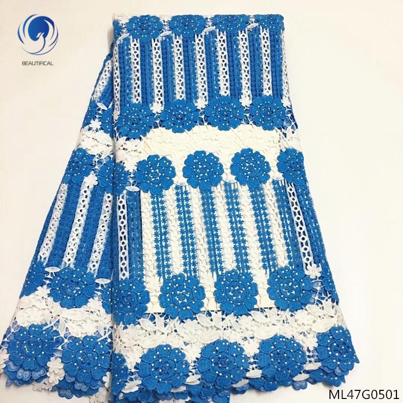 Красивый гипюровый кружевной ткани с Стразы 2019 новый комплект из обуви в африканском стиле шнур кружевной ткани платье для женщин wedding5yards/л