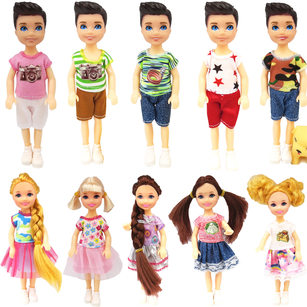 NK One Set Doll 5 Movable Jointed Mini Doll 14 Cm Cute Doll+Shoes+Outfit For Kelly Doll Male Boy's Doll Girls Gift Child Toys JJ