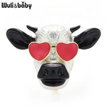 Броши wuli & baby с эмалью изображением быка коровы броши для