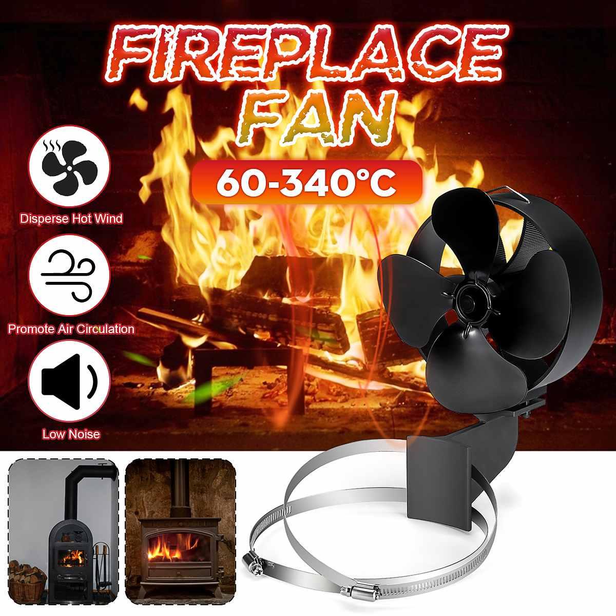 Black Stove Fan 4 Blade Fireplace Fan Chimney Tube Device Safety Double Metal Ring Heat Distribution Fuel Saving+Hoop Device