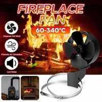 Black Stove Fan 4 Blade Fireplace Fan Chimney Tube Device Safety Double Metal Ring Heat Distribution Fuel Saving+Hoop Device