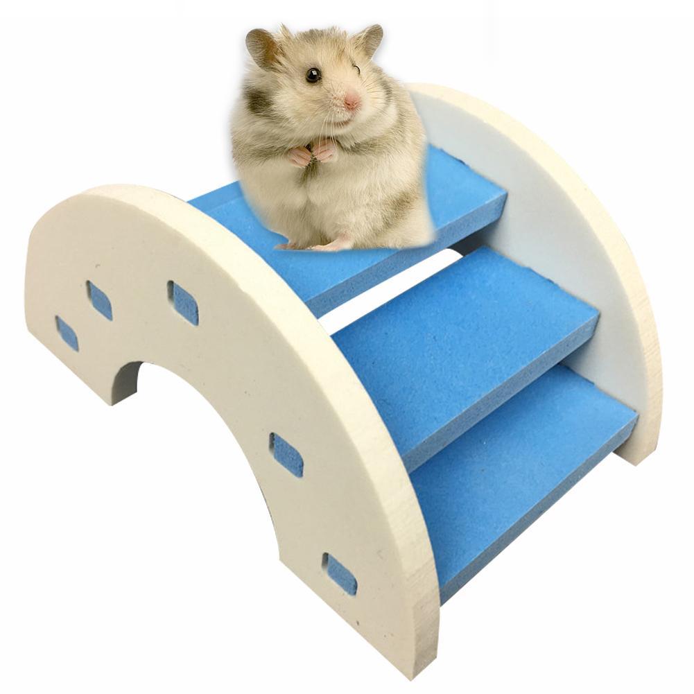 CC Shaped Hamster Toy Wooden Bridge Hamster Eco-friendly Wooden Bridge Ladder Seesaw Syrian Hamster Toy Wooden Bridge