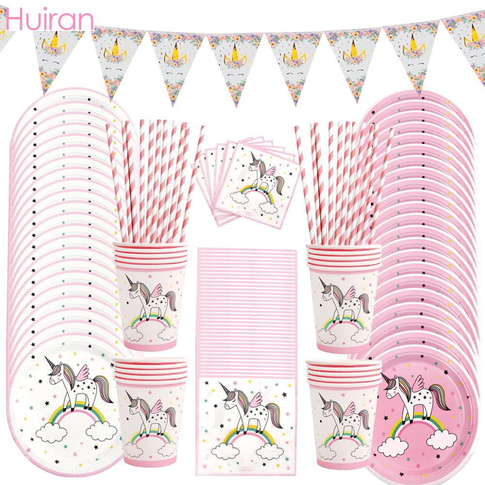 Huiran Unicorn Disposable Tableware Paper Plate Cups Birthday Party Decorations Kids Supplies Unicornio